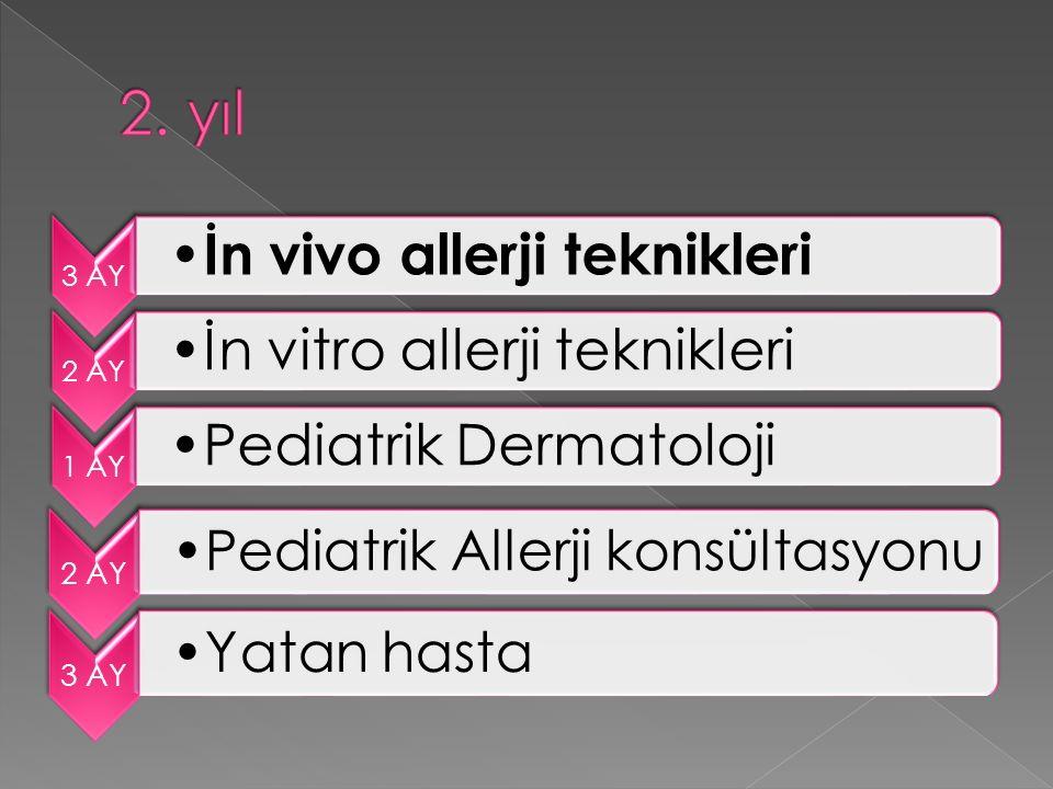 3 AY İn vivo allerji teknikleri 2 AY İn vitro allerji teknikleri 1 AY Pediatrik Dermatoloji 2 AY Pediatrik Allerji konsültasyonu 3 AY Yatan hasta