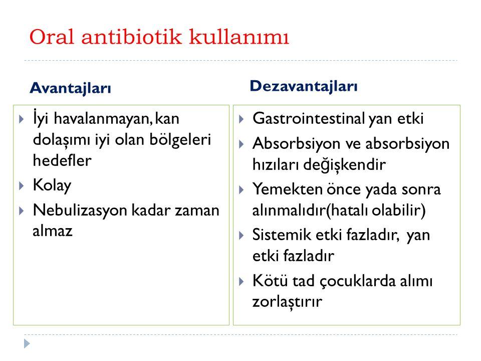 Oral antibiotik kullanımı Avantajları Dezavantajları  İ yi havalanmayan, kan dolaşımı iyi olan bölgeleri hedefler  Kolay  Nebulizasyon kadar zaman almaz  Gastrointestinal yan etki  Absorbsiyon ve absorbsiyon hızıları de ğ işkendir  Yemekten önce yada sonra alınmalıdır(hatalı olabilir)  Sistemik etki fazladır, yan etki fazladır  Kötü tad çocuklarda alımı zorlaştırır