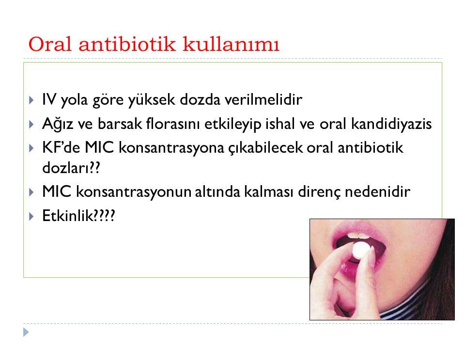 Oral antibiotik kullanımı  IV yola göre yüksek dozda verilmelidir  A ğ ız ve barsak florasını etkileyip ishal ve oral kandidiyazis  KF'de MIC konsantrasyona çıkabilecek oral antibiotik dozları .