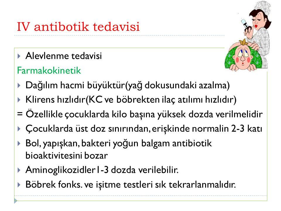 IV antibotik tedavisi  Alevlenme tedavisi Farmakokinetik  Da ğ ılım hacmi büyüktür(ya ğ dokusundaki azalma)  Klirens hızlıdır(KC ve böbrekten ilaç atılımı hızlıdır) = Özellikle çocuklarda kilo başına yüksek dozda verilmelidir  Çocuklarda üst doz sınırından, erişkinde normalin 2-3 katı  Bol, yapışkan, bakteri yo ğ un balgam antibiotik bioaktivitesini bozar  Aminoglikozidler1-3 dozda verilebilir.