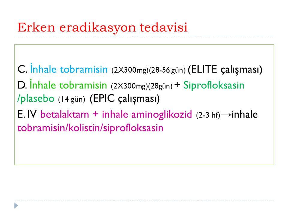 Erken eradikasyon tedavisi C. İ nhale tobramisin (2X300mg)(28-56 gün) (ELITE çalışması) D.