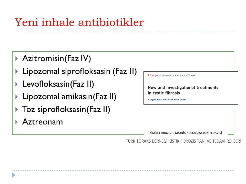 Yeni inhale antibiotikler  Azitromisin(Faz IV)  Lipozomal siprofloksasin (Faz II)  Levofloksasin(Faz II)  Lipozomal amikasin(Faz II)  Toz siprofloksasin(Faz II)  Aztreonam