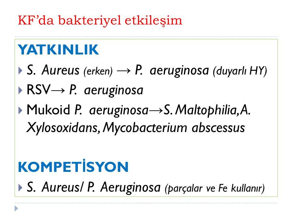 KF'da bakteriyel etkileşim YATKINLIK  S. Aureus (erken) → P.