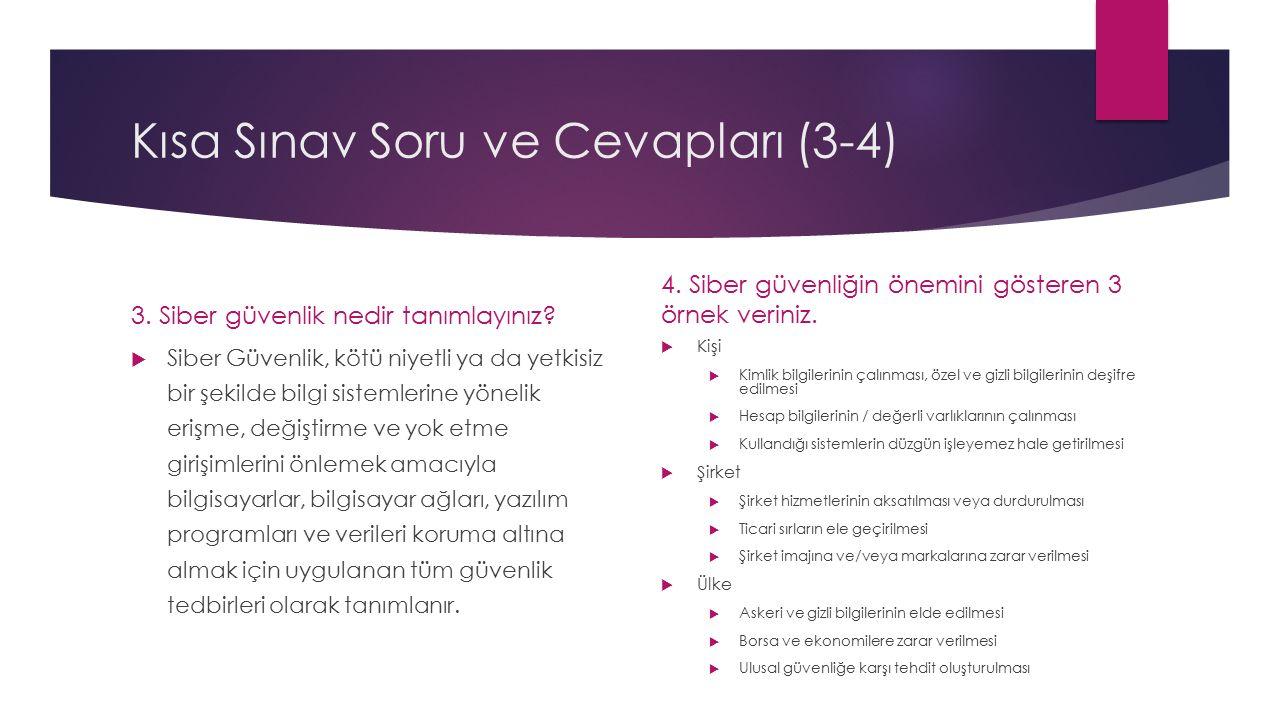 Kısa Sınav Soru ve Cevapları (5) 5.
