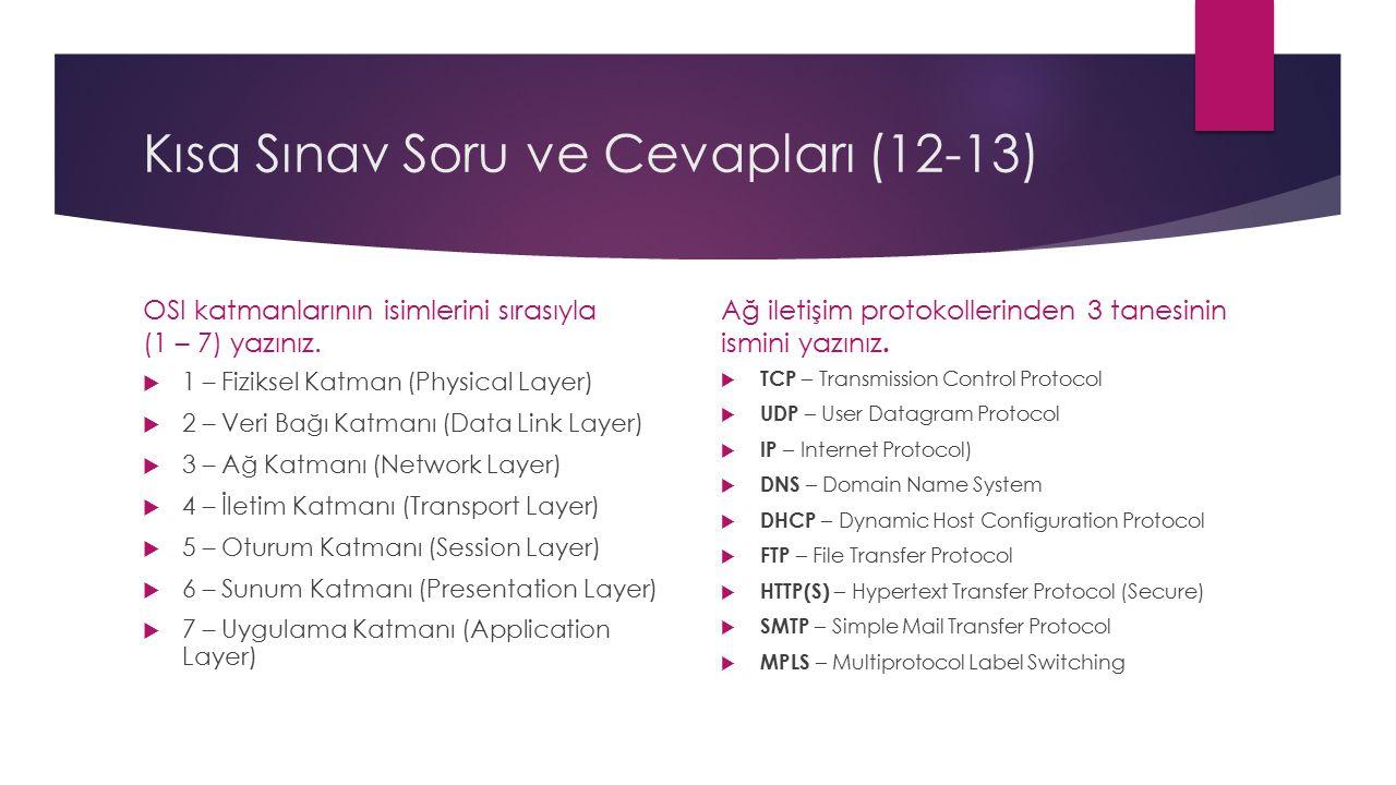 Kısa Sınav Soru ve Cevapları (12-13) OSI katmanlarının isimlerini sırasıyla (1 – 7) yazınız.  1 – Fiziksel Katman (Physical Layer)  2 – Veri Bağı Ka