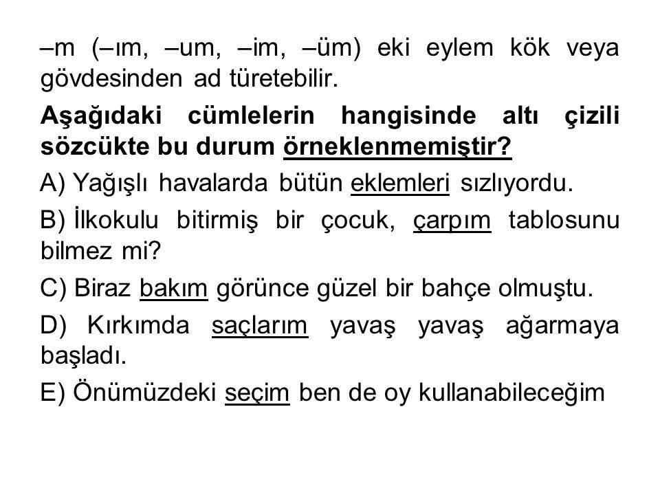 –m (–ım, –um, –im, –üm) eki eylem kök veya gövdesinden ad türetebilir. Aşağıdaki cümlelerin hangisinde altı çizili sözcükte bu durum örneklenmemiştir?