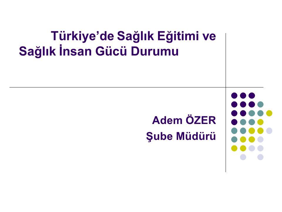 Türkiye'de Sağlık Eğitimi ve Sağlık İnsan Gücü Durumu Adem ÖZER Şube Müdürü