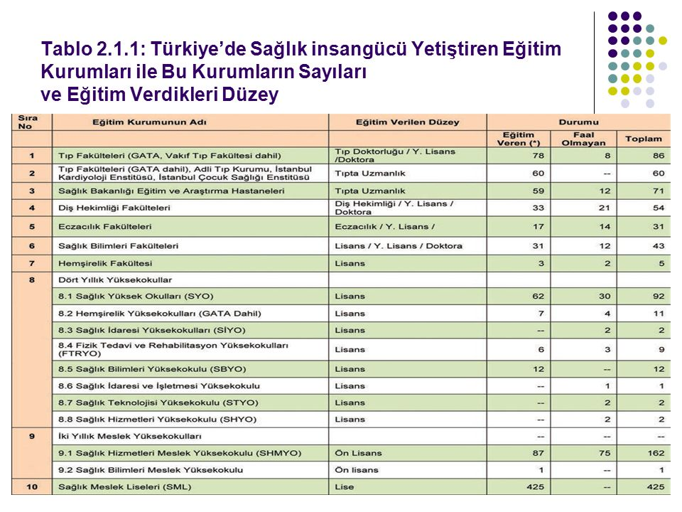 Tablo 2.1.1: Türkiye'de Sağlık insangücü Yetiştiren Eğitim Kurumları ile Bu Kurumların Sayıları ve Eğitim Verdikleri Düzey