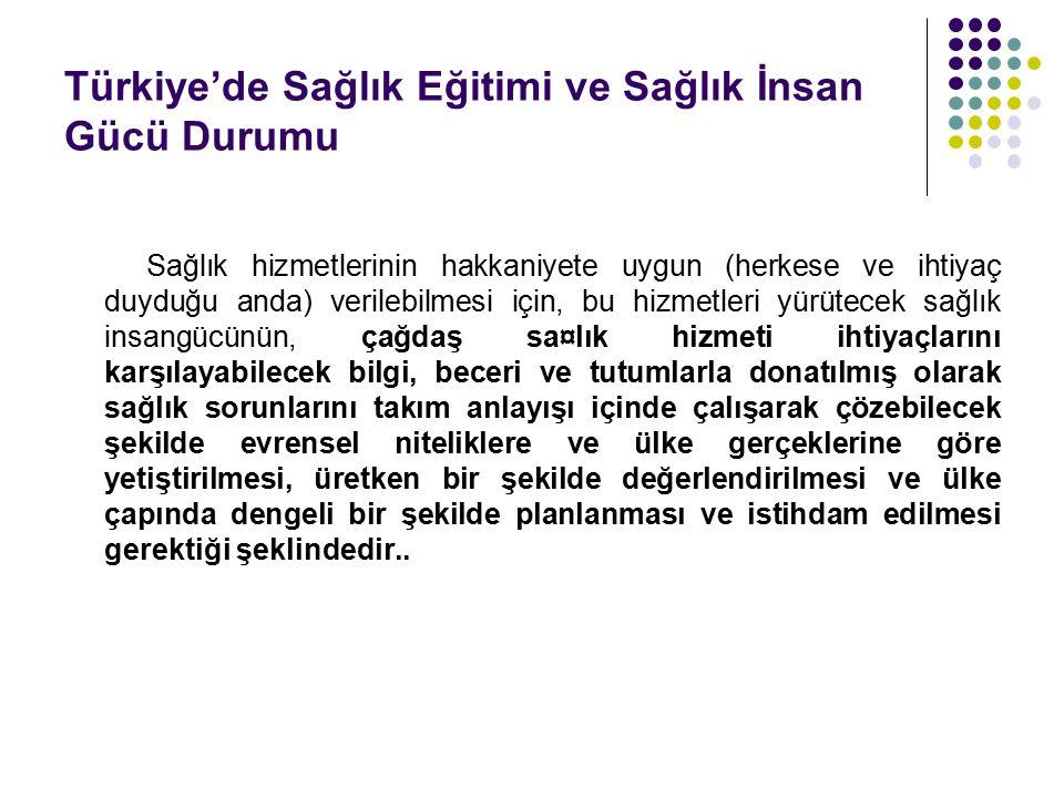 Türkiye'de Sağlık Eğitimi ve Sağlık İnsan Gücü Durumu Sağlık hizmetlerinin hakkaniyete uygun (herkese ve ihtiyaç duyduğu anda) verilebilmesi için, bu