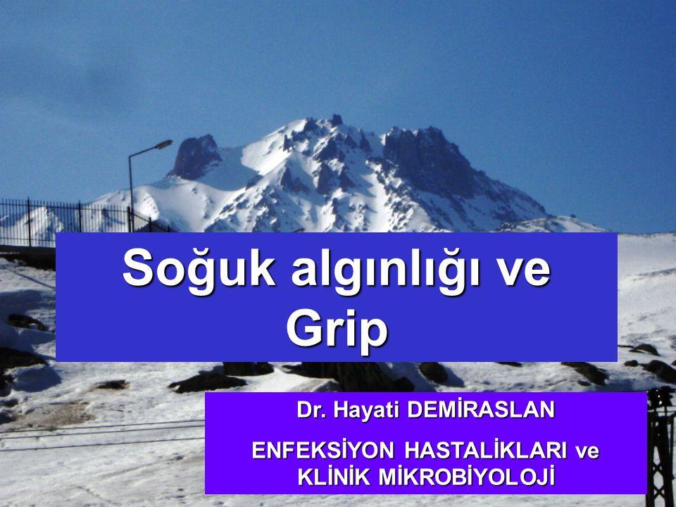 Soğuk algınlığı ve Grip Dr. Hayati DEMİRASLAN ENFEKSİYON HASTALİKLARI ve KLİNİK MİKROBİYOLOJİ
