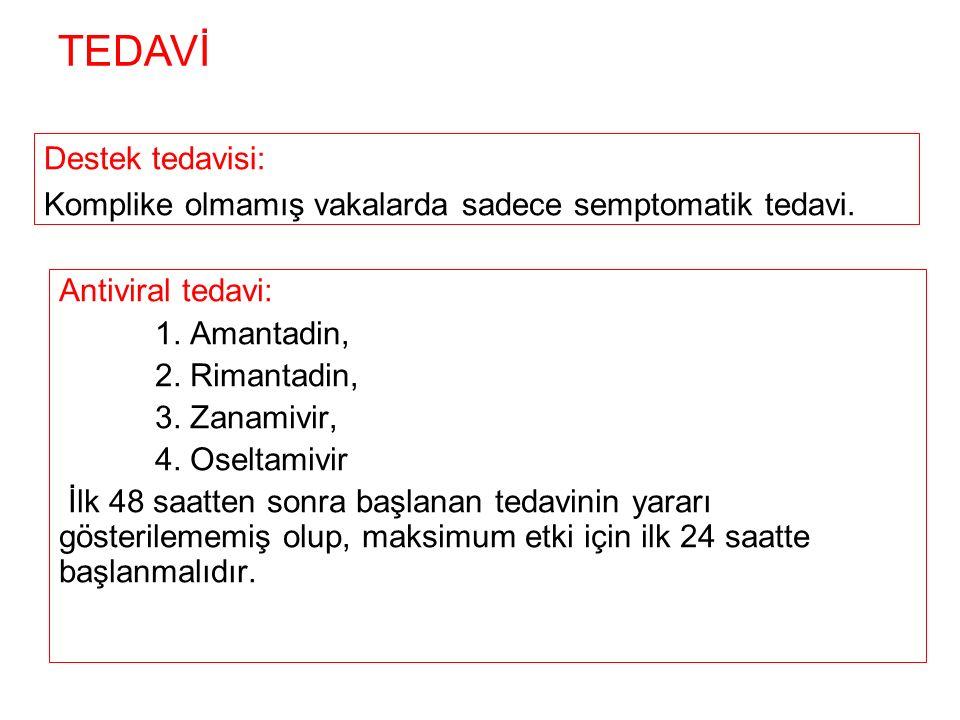 Antiviral tedavi: 1. Amantadin, 2. Rimantadin, 3.