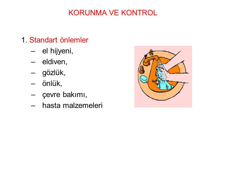 1. Standart önlemler –el hijyeni, –eldiven, –gözlük, –önlük, –çevre bakımı, –hasta malzemeleri KORUNMA VE KONTROL