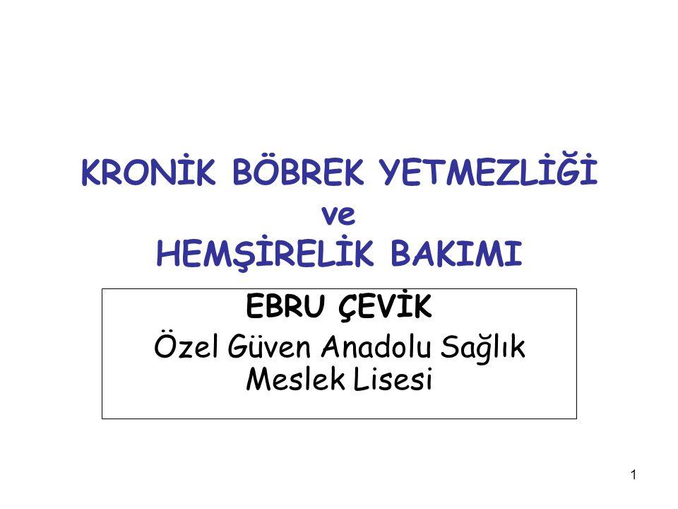 1 KRONİK BÖBREK YETMEZLİĞİ ve HEMŞİRELİK BAKIMI EBRU ÇEVİK Özel Güven Anadolu Sağlık Meslek Lisesi