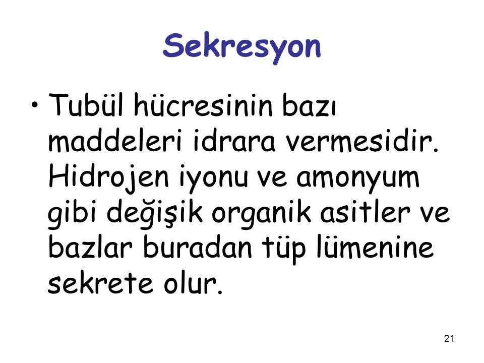 21 Sekresyon Tubül hücresinin bazı maddeleri idrara vermesidir. Hidrojen iyonu ve amonyum gibi değişik organik asitler ve bazlar buradan tüp lümenine