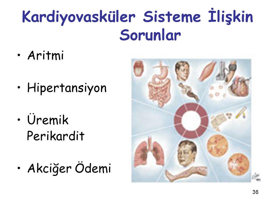 36 Kardiyovasküler Sisteme İlişkin Sorunlar Aritmi Hipertansiyon Üremik Perikardit Akciğer Ödemi