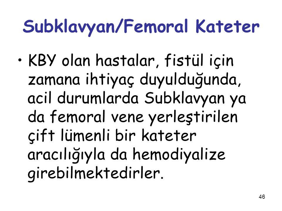 46 Subklavyan/Femoral Kateter KBY olan hastalar, fistül için zamana ihtiyaç duyulduğunda, acil durumlarda Subklavyan ya da femoral vene yerleştirilen
