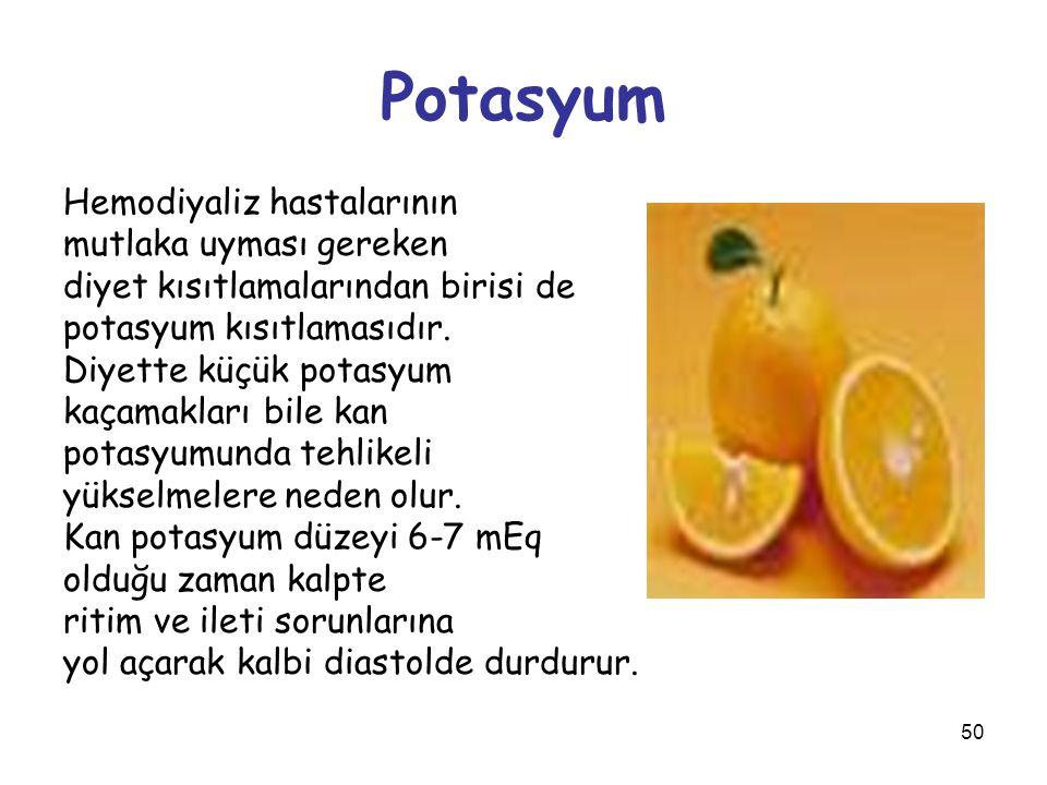 50 Potasyum Hemodiyaliz hastalarının mutlaka uyması gereken diyet kısıtlamalarından birisi de potasyum kısıtlamasıdır. Diyette küçük potasyum kaçamakl