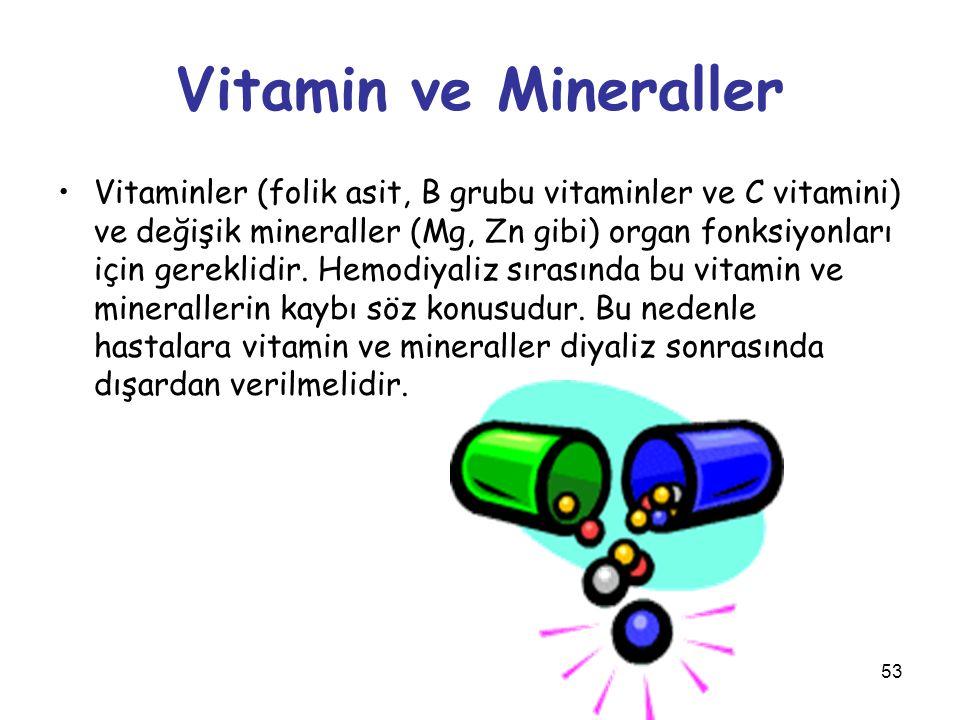 53 Vitamin ve Mineraller Vitaminler (folik asit, B grubu vitaminler ve C vitamini) ve değişik mineraller (Mg, Zn gibi) organ fonksiyonları için gerekl