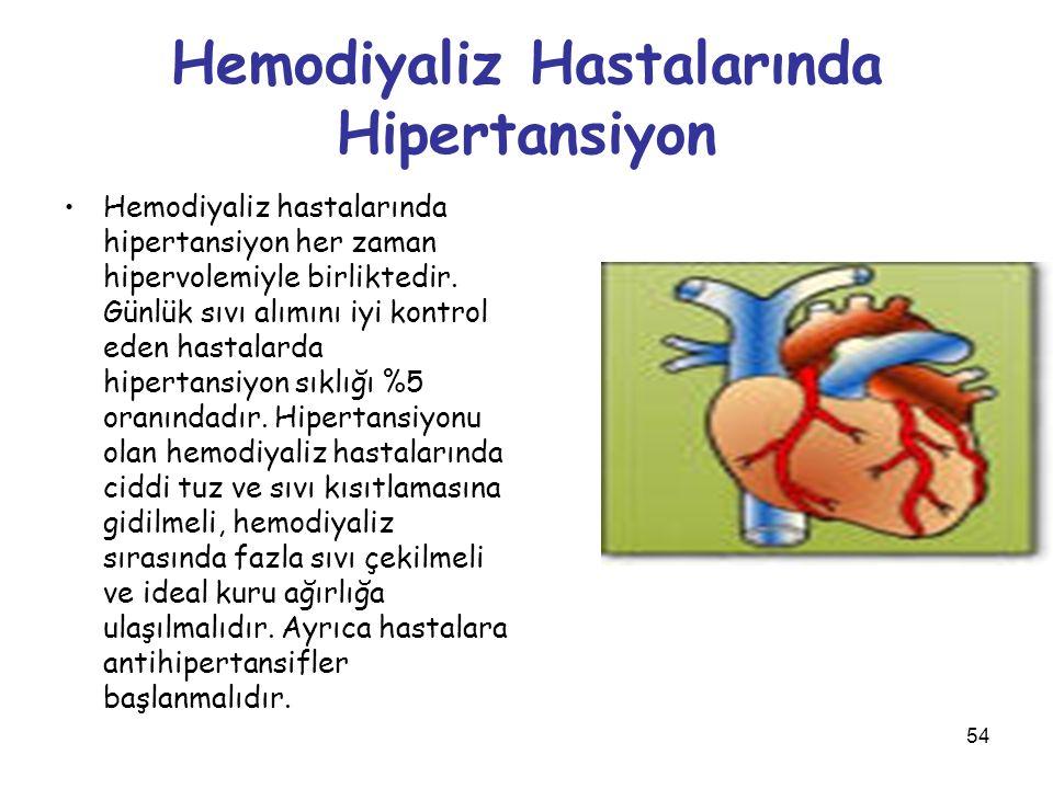 54 Hemodiyaliz Hastalarında Hipertansiyon Hemodiyaliz hastalarında hipertansiyon her zaman hipervolemiyle birliktedir. Günlük sıvı alımını iyi kontrol