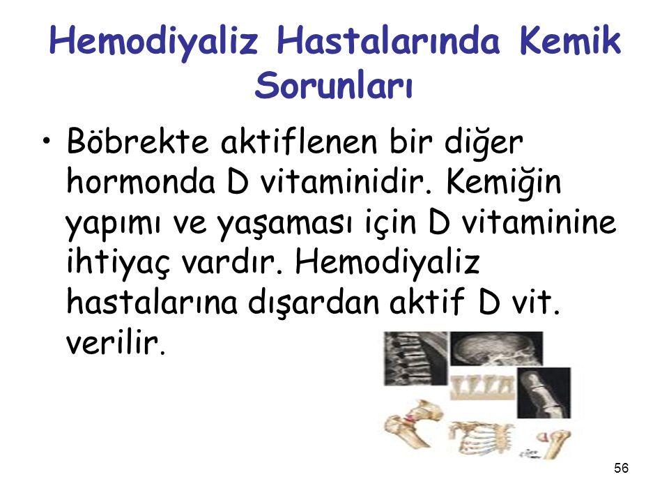 56 Hemodiyaliz Hastalarında Kemik Sorunları Böbrekte aktiflenen bir diğer hormonda D vitaminidir. Kemiğin yapımı ve yaşaması için D vitaminine ihtiyaç