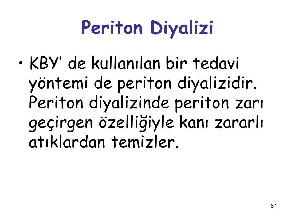 61 Periton Diyalizi KBY' de kullanılan bir tedavi yöntemi de periton diyalizidir. Periton diyalizinde periton zarı geçirgen özelliğiyle kanı zararlı a