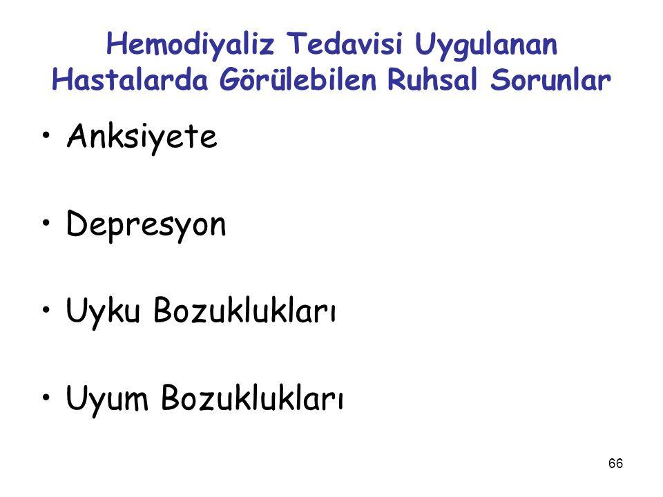 66 Hemodiyaliz Tedavisi Uygulanan Hastalarda Görülebilen Ruhsal Sorunlar Anksiyete Depresyon Uyku Bozuklukları Uyum Bozuklukları