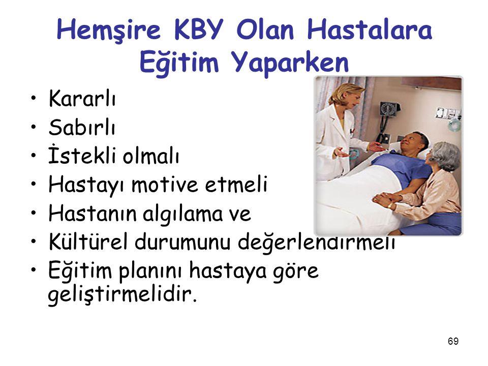 69 Hemşire KBY Olan Hastalara Eğitim Yaparken Kararlı Sabırlı İstekli olmalı Hastayı motive etmeli Hastanın algılama ve Kültürel durumunu değerlendirm