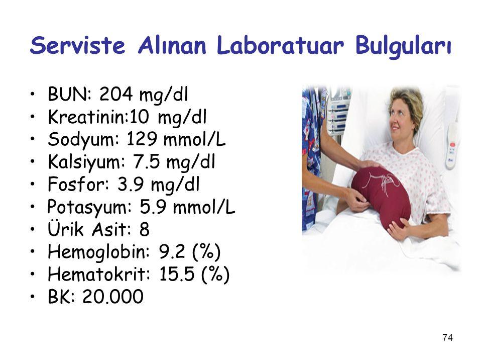 74 Serviste Alınan Laboratuar Bulguları BUN: 204 mg/dl Kreatinin:10 mg/dl Sodyum: 129 mmol/L Kalsiyum: 7.5 mg/dl Fosfor: 3.9 mg/dl Potasyum: 5.9 mmol/