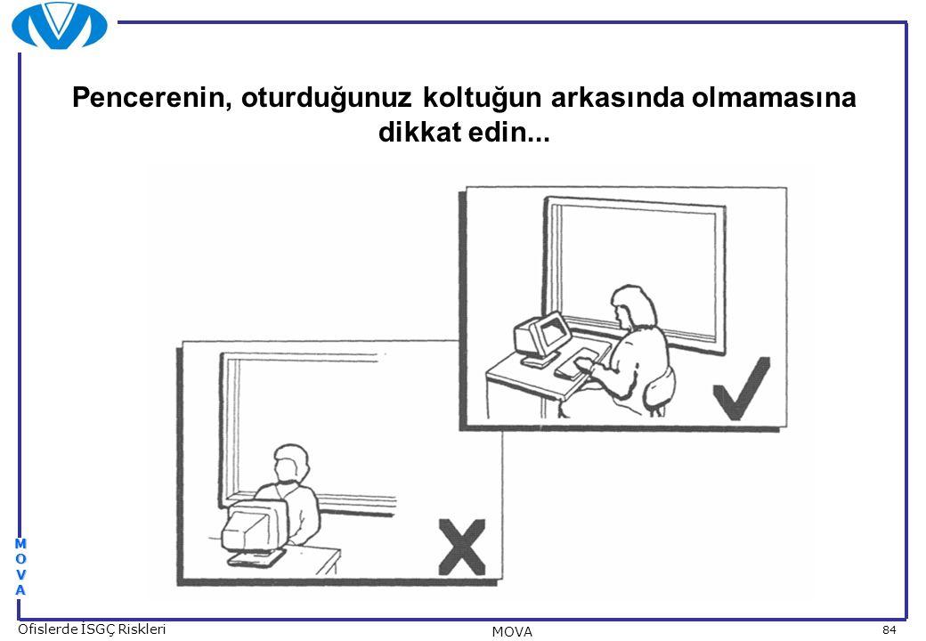 84 Ofislerde İSGÇ Riskleri MOVA MOVAMOVAMOVAMOVA Pencerenin, oturduğunuz koltuğun arkasında olmamasına dikkat edin...