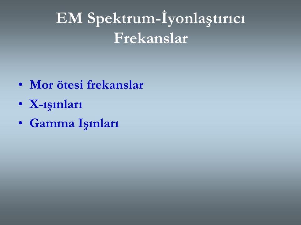 EM Spektrum-İyonlaştırıcı Olmayan Frekanslar Çok düşük frekanslar (ELF) Radyo frekansları (RF) Kızıl ötesi (Infrared) frekanslar Mikrodalga frekansları Görünür Işık