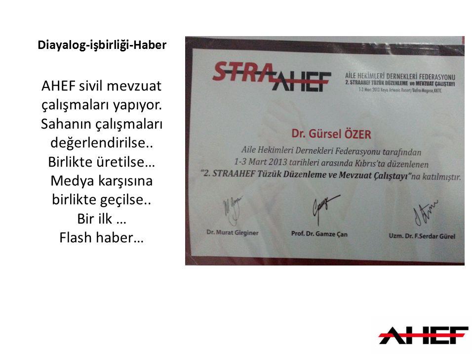 Diayalog-işbirliği-Haber AHEF sivil mevzuat çalışmaları yapıyor. Sahanın çalışmaları değerlendirilse.. Birlikte üretilse… Medya karşısına birlikte geç
