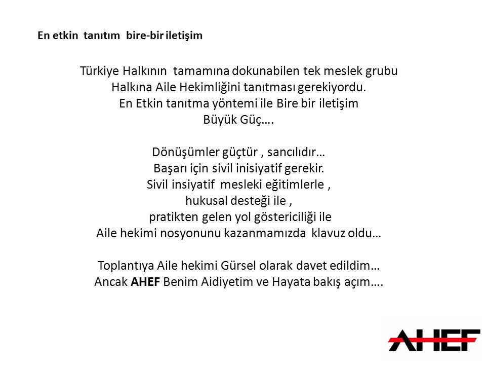 Türkiye Halkının tamamına dokunabilen tek meslek grubu Halkına Aile Hekimliğini tanıtması gerekiyordu. En Etkin tanıtma yöntemi ile Bire bir iletişim