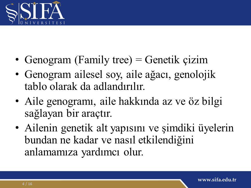 Genogram (Family tree) = Genetik çizim Genogram ailesel soy, aile ağacı, genolojik tablo olarak da adlandırılır. Aile genogramı, aile hakkında az ve ö
