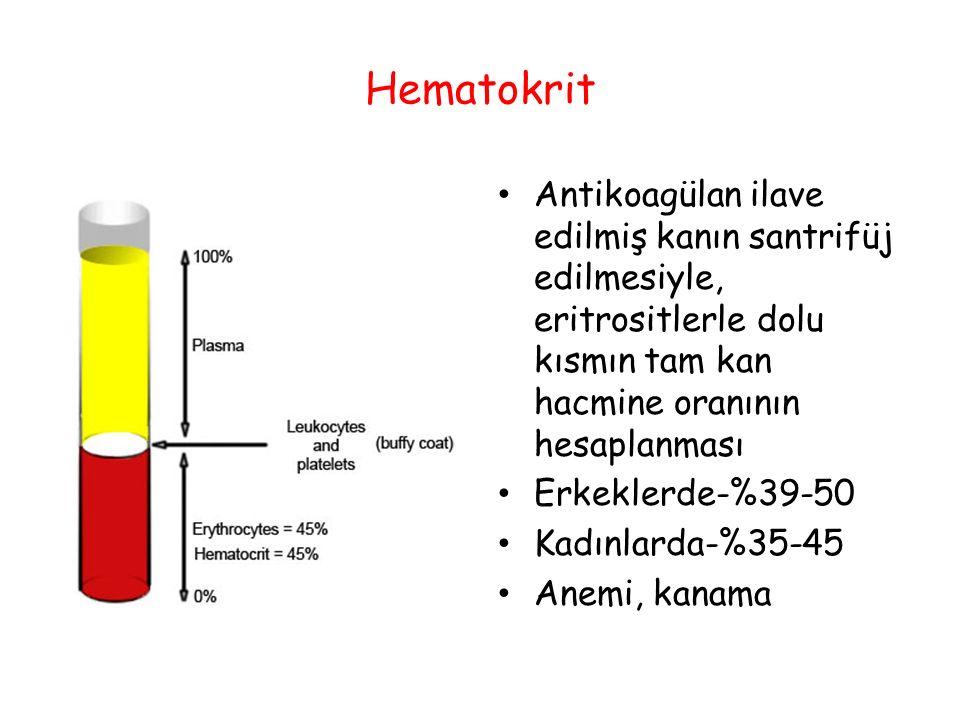 Hematokrit Antikoagülan ilave edilmiş kanın santrifüj edilmesiyle, eritrositlerle dolu kısmın tam kan hacmine oranının hesaplanması Erkeklerde-%39-50