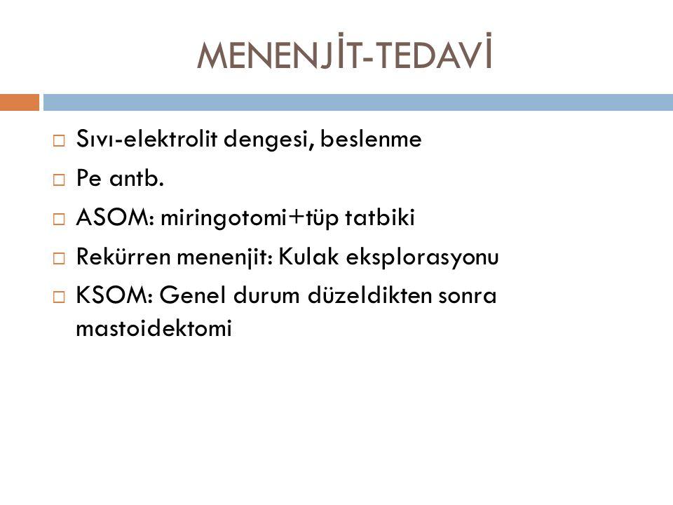 MENENJ İ T-TEDAV İ  Sıvı-elektrolit dengesi, beslenme  Pe antb.  ASOM: miringotomi+tüp tatbiki  Rekürren menenjit: Kulak eksplorasyonu  KSOM: Gen