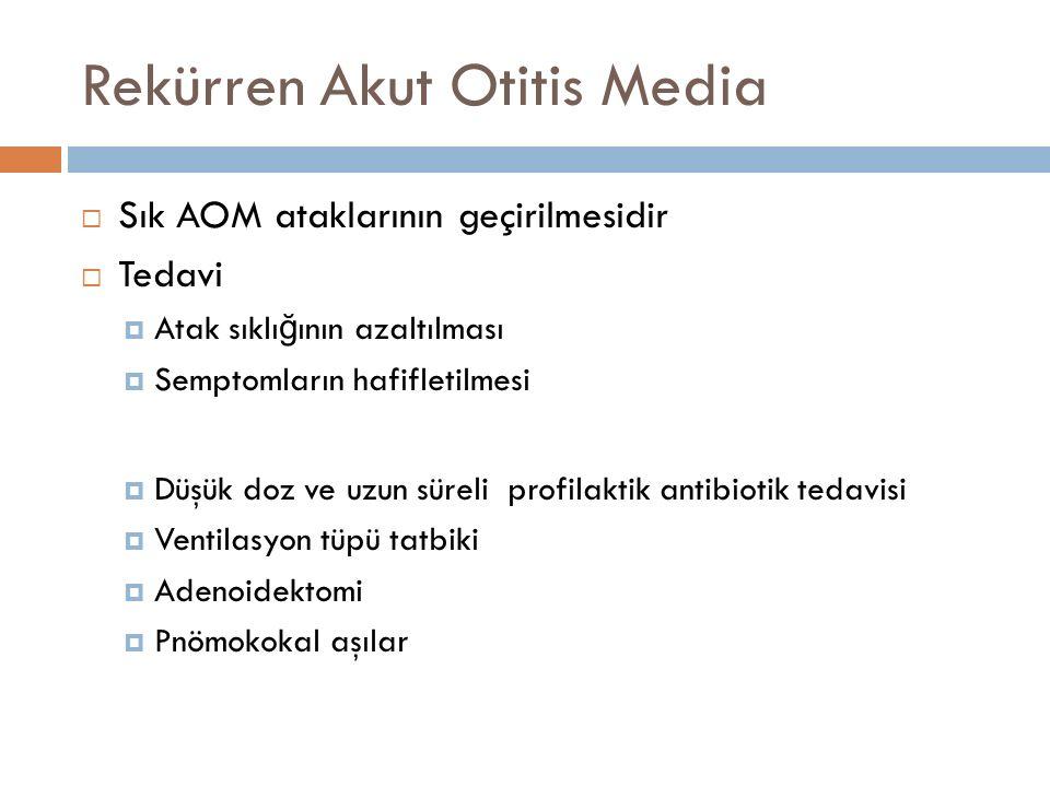 Rekürren Akut Otitis Media  Sık AOM ataklarının geçirilmesidir  Tedavi  Atak sıklı ğ ının azaltılması  Semptomların hafifletilmesi  Düşük doz ve