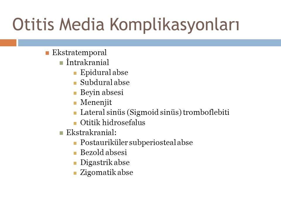 Otitis Media Komplikasyonları Ekstratemporal İntrakranial Epidural abse Subdural abse Beyin absesi Menenjit Lateral sinüs (Sigmoid sinüs) tromboflebit