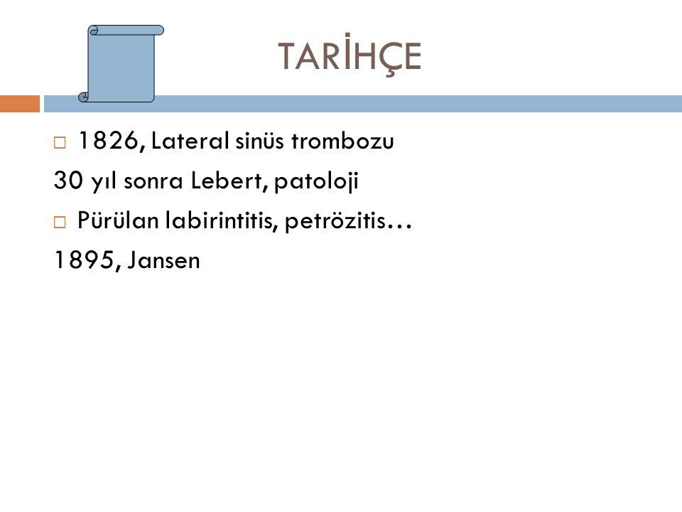 TAR İ HÇE  1826, Lateral sinüs trombozu 30 yıl sonra Lebert, patoloji  Pürülan labirintitis, petrözitis… 1895, Jansen