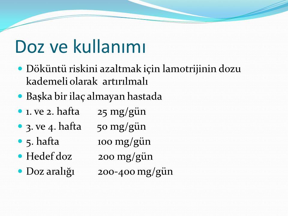 Doz ve kullanımı Döküntü riskini azaltmak için lamotrijinin dozu kademeli olarak artırılmalı Başka bir ilaç almayan hastada 1.