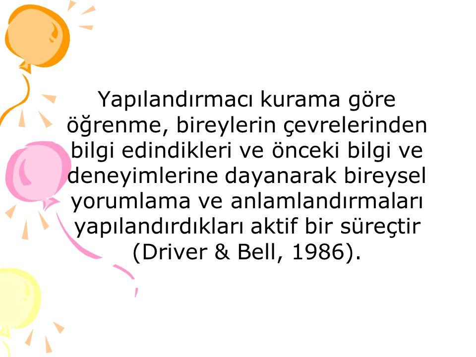 Yapılandırmacı kurama göre öğrenme, bireylerin çevrelerinden bilgi edindikleri ve önceki bilgi ve deneyimlerine dayanarak bireysel yorumlama ve anlamlandırmaları yapılandırdıkları aktif bir süreçtir (Driver & Bell, 1986).