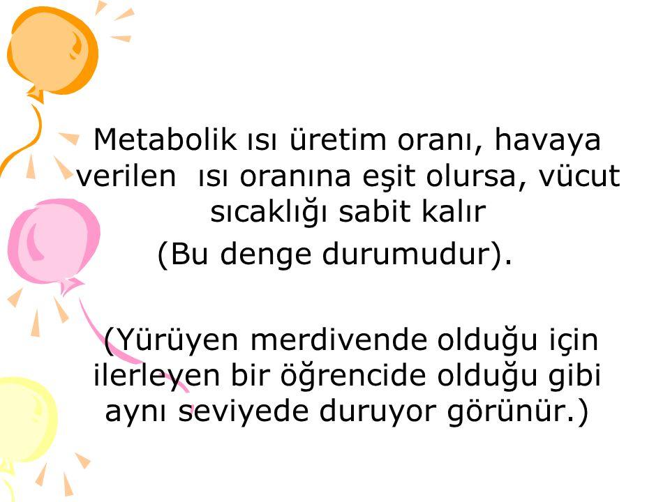 Metabolik ısı üretim oranı, havaya verilen ısı oranına eşit olursa, vücut sıcaklığı sabit kalır (Bu denge durumudur).