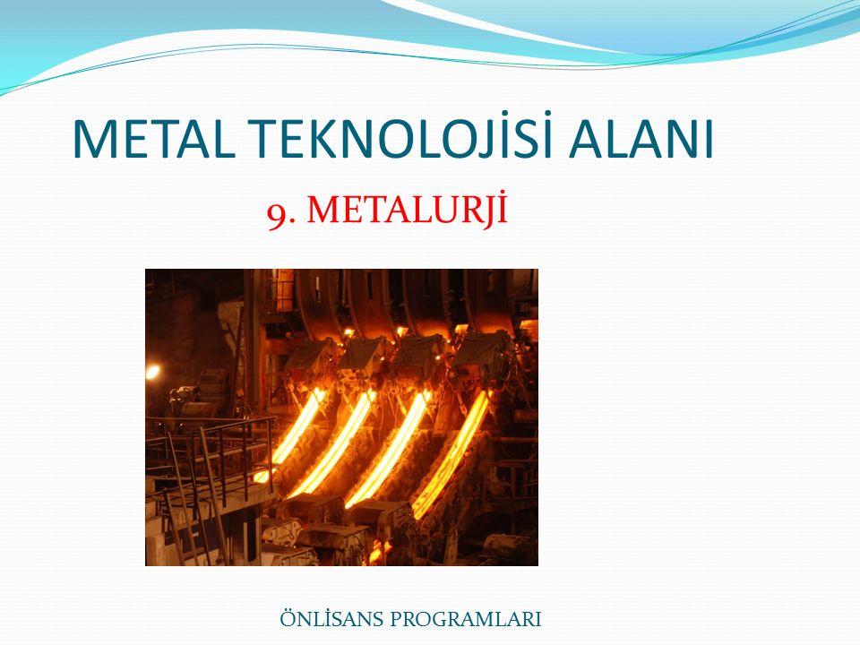 METAL TEKNOLOJİSİ ALANI 9. METALURJİ ÖNLİSANS PROGRAMLARI