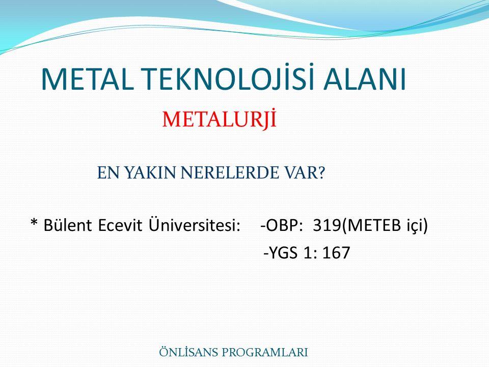 METAL TEKNOLOJİSİ ALANI METALURJİ EN YAKIN NERELERDE VAR.