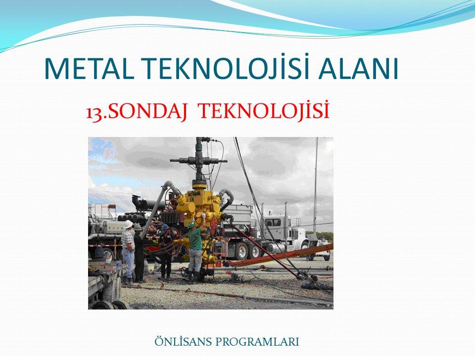 METAL TEKNOLOJİSİ ALANI ÖNLİSANS PROGRAMLARI 13.SONDAJ TEKNOLOJİSİ