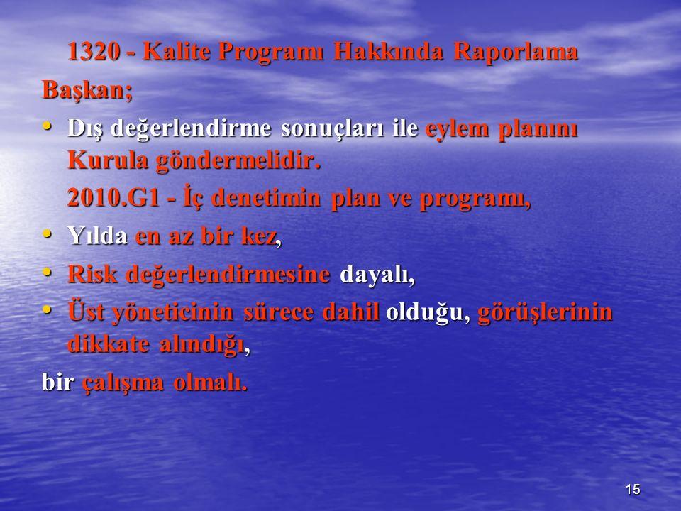 15 1320 - Kalite Programı Hakkında Raporlama Başkan; Dış değerlendirme sonuçları ile eylem planını Kurula göndermelidir.