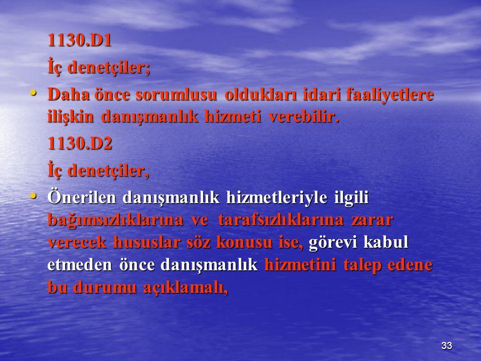 33 1130.D1 İç denetçiler; Daha önce sorumlusu oldukları idari faaliyetlere ilişkin danışmanlık hizmeti verebilir.