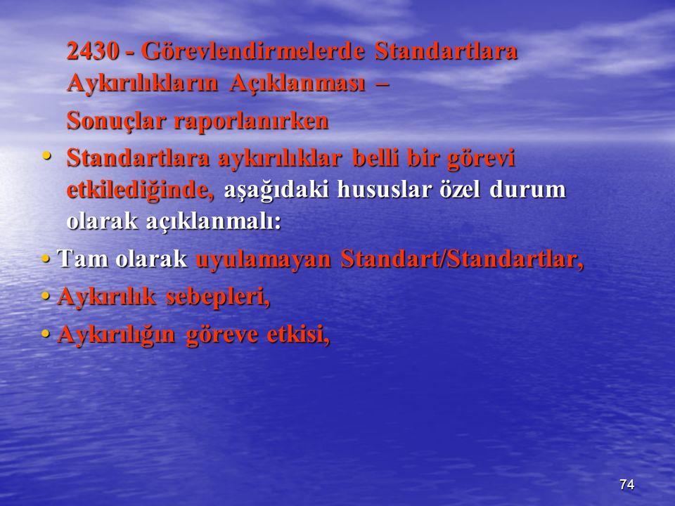 74 2430 - Görevlendirmelerde Standartlara Aykırılıkların Açıklanması – Sonuçlar raporlanırken Standartlara aykırılıklar belli bir görevi etkilediğinde, aşağıdaki hususlar özel durum olarak açıklanmalı: Standartlara aykırılıklar belli bir görevi etkilediğinde, aşağıdaki hususlar özel durum olarak açıklanmalı: Tam olarak uyulamayan Standart/Standartlar, Tam olarak uyulamayan Standart/Standartlar, Aykırılık sebepleri, Aykırılık sebepleri, Aykırılığın göreve etkisi, Aykırılığın göreve etkisi,