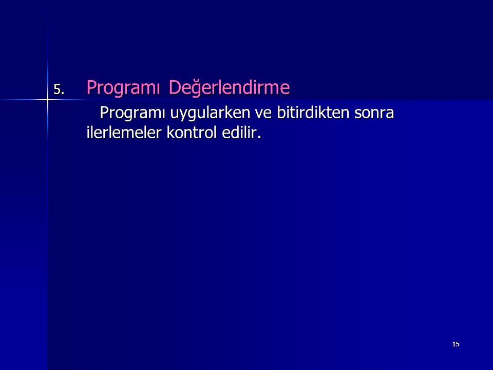 15 5. Programı Değerlendirme Programı uygularken ve bitirdikten sonra ilerlemeler kontrol edilir. Programı uygularken ve bitirdikten sonra ilerlemeler