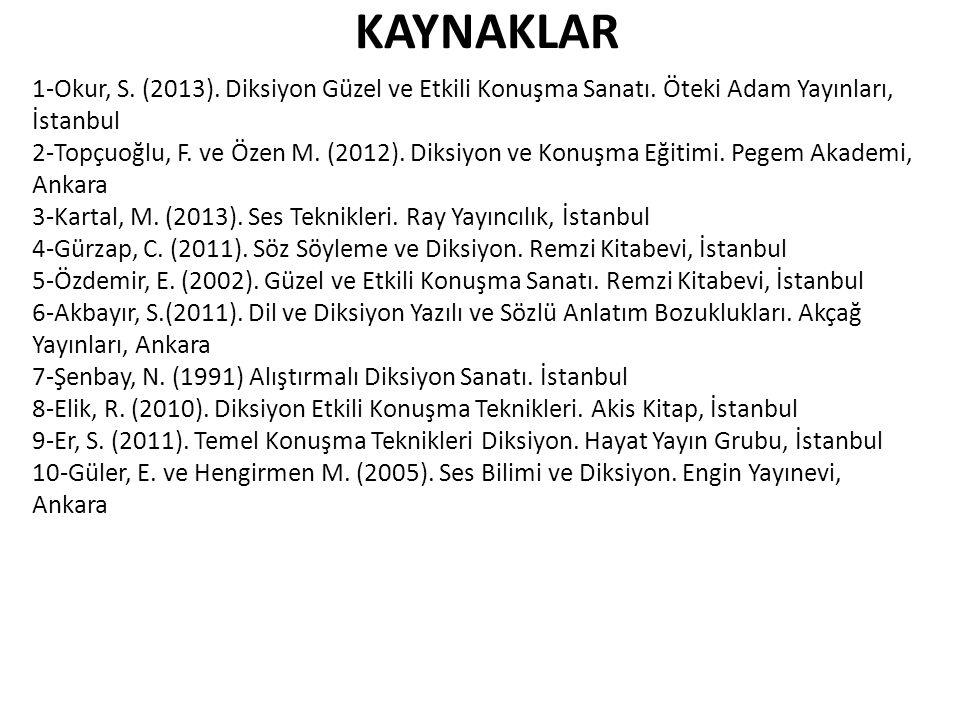 KAYNAKLAR 1-Okur, S. (2013). Diksiyon Güzel ve Etkili Konuşma Sanatı.