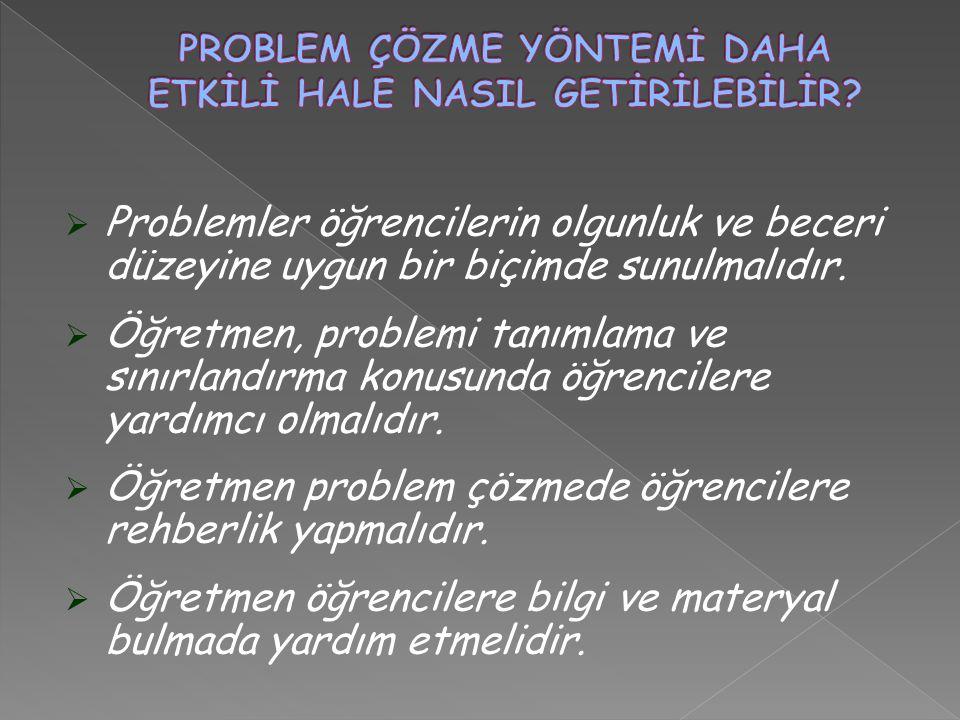  Problemler öğrencilerin olgunluk ve beceri düzeyine uygun bir biçimde sunulmalıdır.